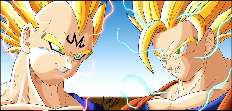Majin Vegeta Vs Ssj2 Goku Lineart By Brusselthesaiyan On: Majin Vegeta Vs Goku By SWAVE18 On DeviantArt