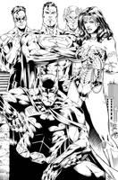 Batman, Wonder Woman, Superman, Flash and GL Ink by SWAVE18