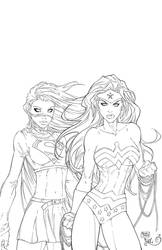 Wonder Woman and Supergirl Inks by SWAVE18