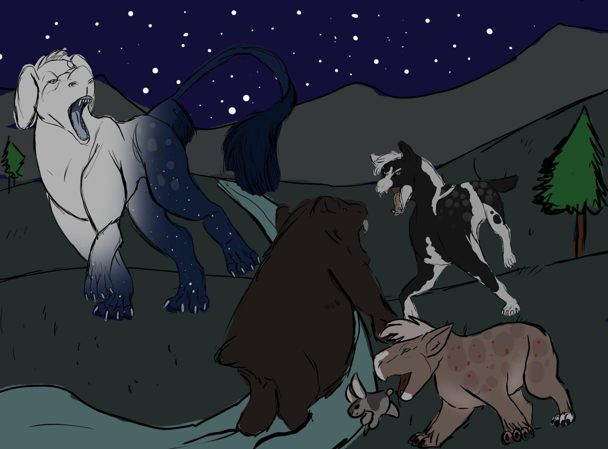 Bear And Rabbit Hunt by Dorosaury
