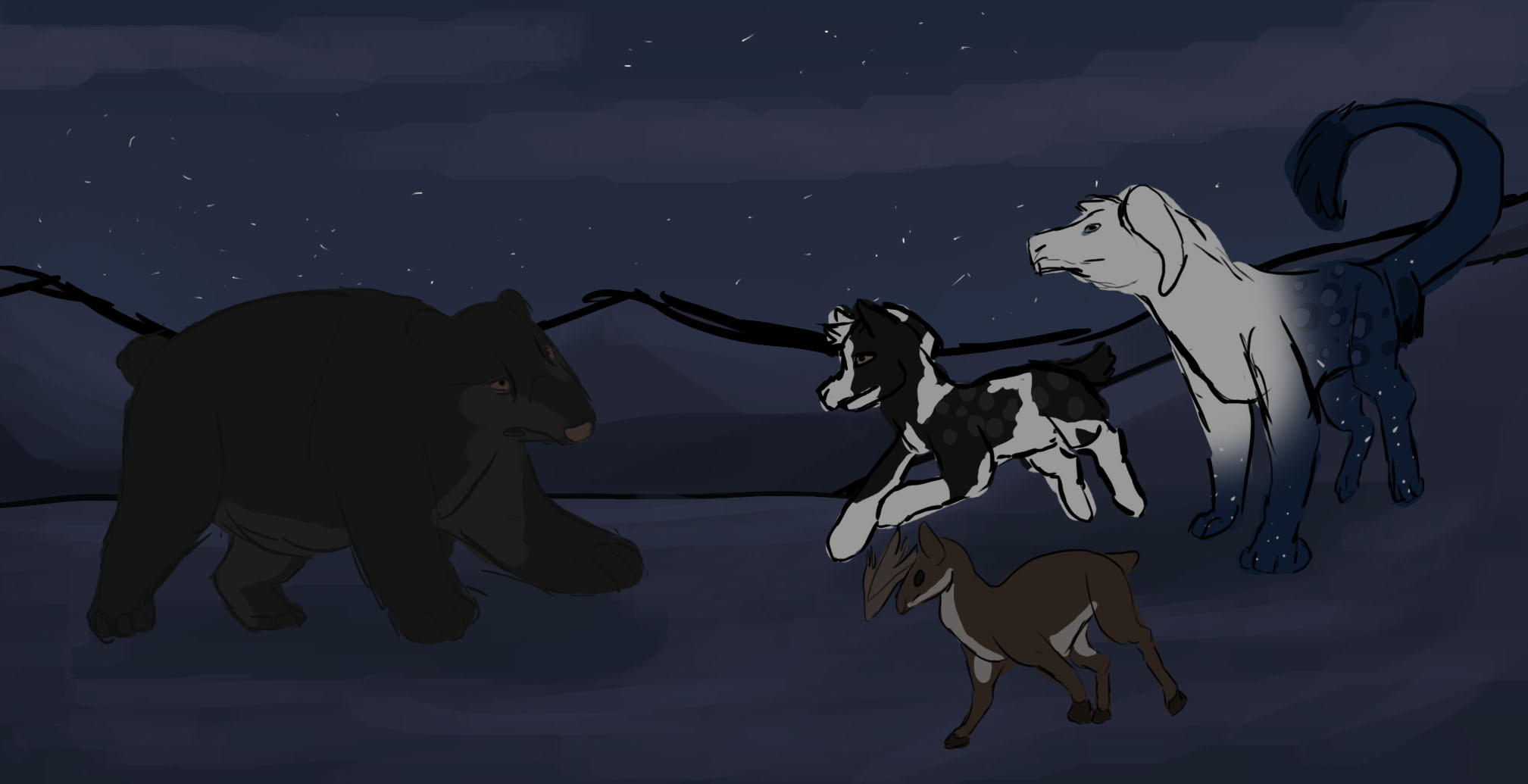Bear And Carribou Hunt by Dorosaury