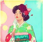 Japanese Old fashion kimono girl