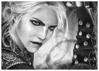 Ciri Sword Fighting - Pencil Portrait by Jooleya
