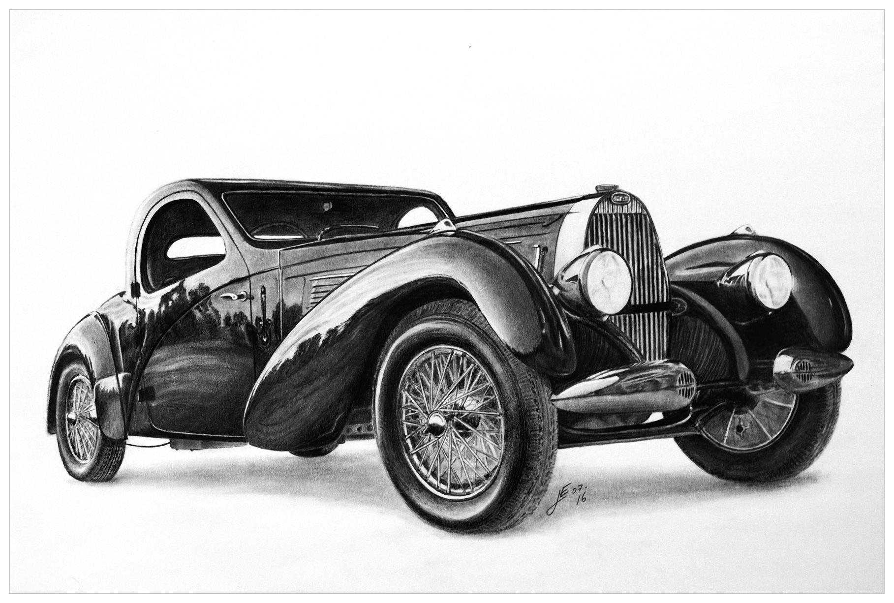 how to draw a bugatti car