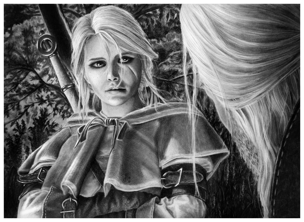 Father and Daughter - Ciri Pencil Portrait by Jooleya on ...