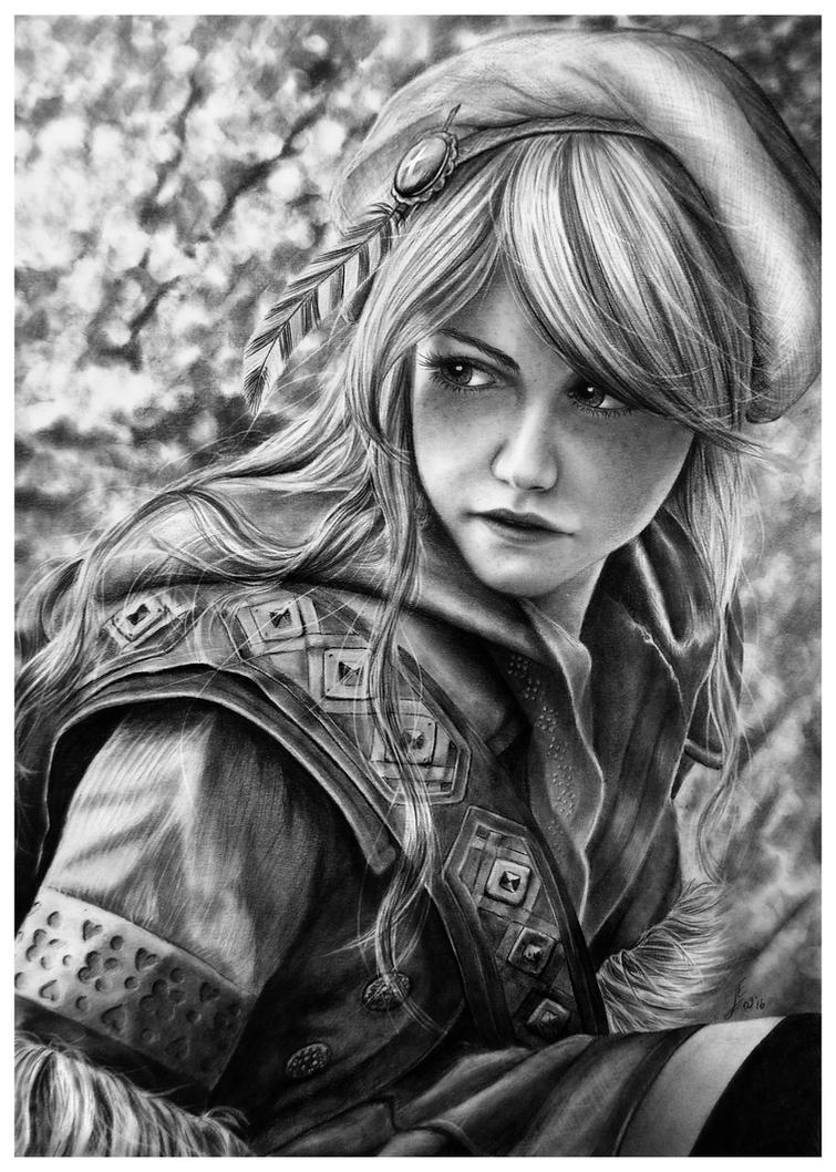Ciri as Falka - Pencil Drawing by Jooleya