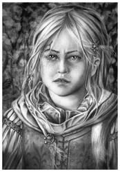 Ciri in Brokilon Forest - Pencil Portrait by Jooleya
