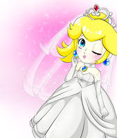 Peach's wedding clothe by GeekytheMariotaku