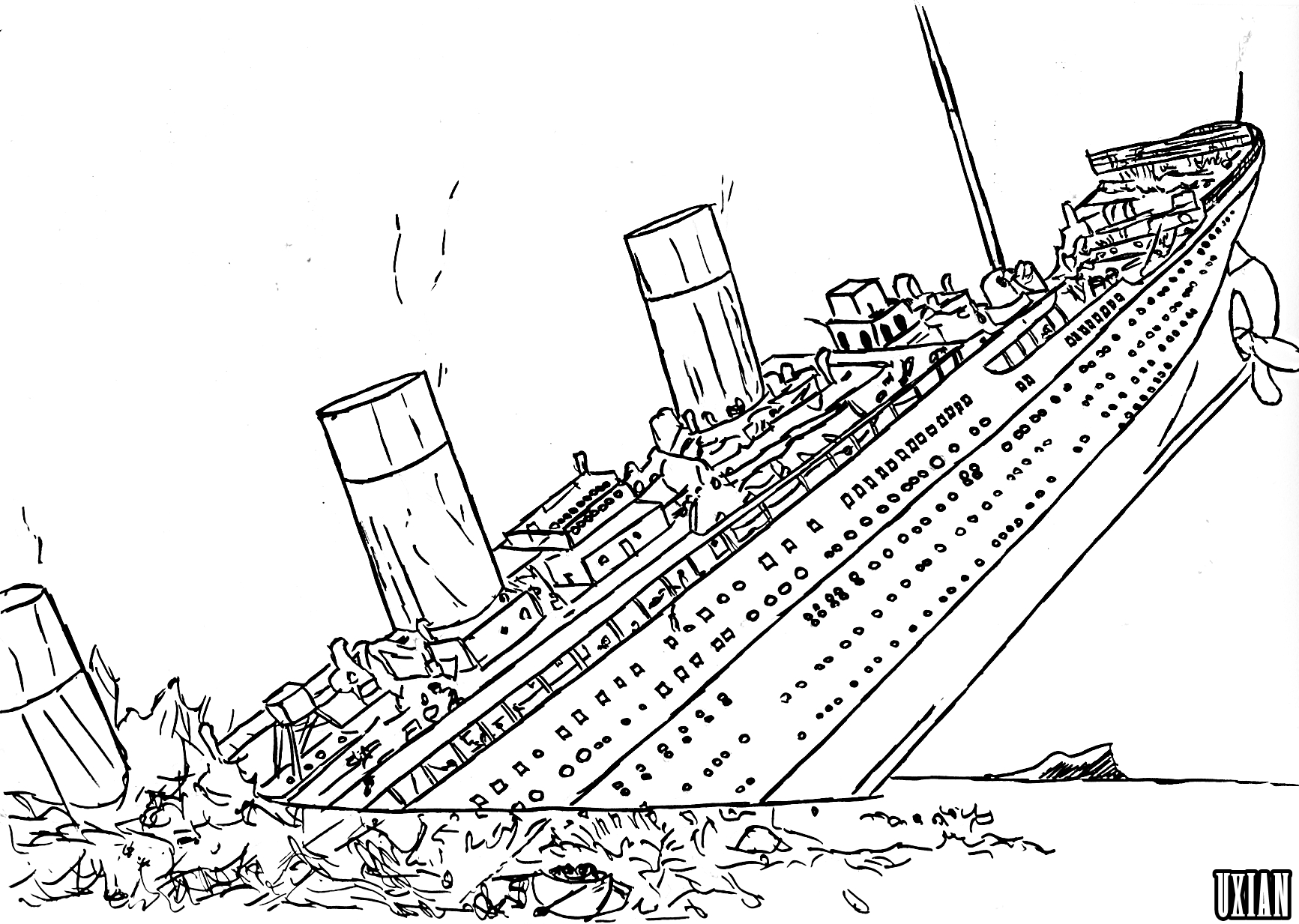 How To Draw Sinking Titanic Titanic Coloring Pages