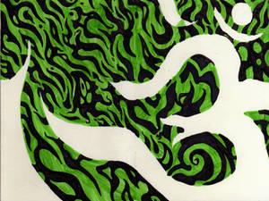Om in negative space in green