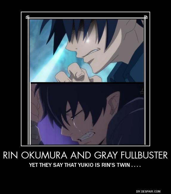 Rin Okumura and Gray Fullbuster Demotivational by Juuhachigourox