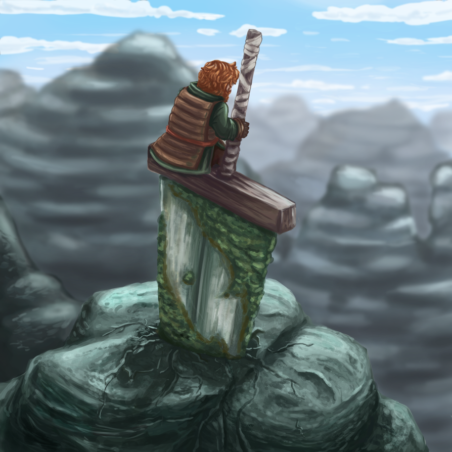 Sword in the Mountain by ColorfullyMonotone