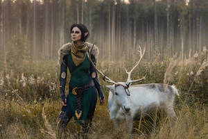Merrill with Reindeer 2 - Dragon Age II cosplay by LuckyStrikeCosplay