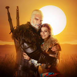 Geralt and Aloy - Horizon and Witcher cosplay