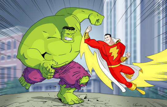 Captain Marvel vs The Hulk (color)