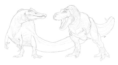 T. rex and Spinosaurus