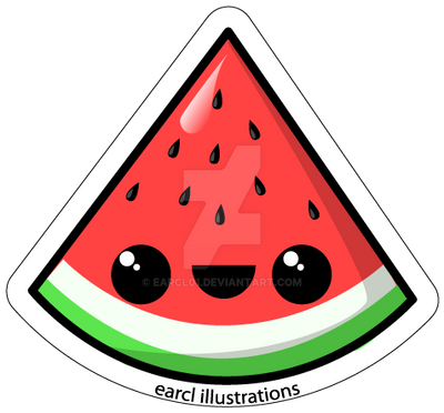 Watermelon fruit sticker by earcl01