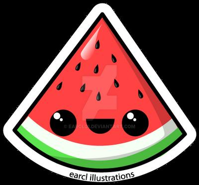Watermelon fruit sticker by earcl01