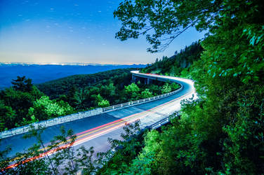 linn cove viaduct at night in north carolina usa by digidreamgrafix