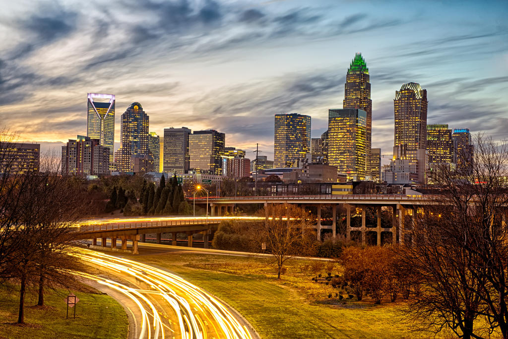 sunset over charlotte north carolina skyline by digidreamgrafix