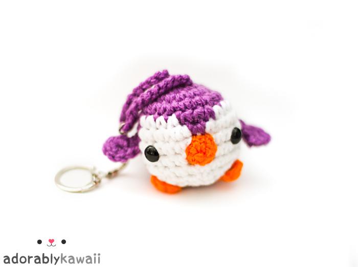 purple mini penguin keychain 2 by adorablykawaii