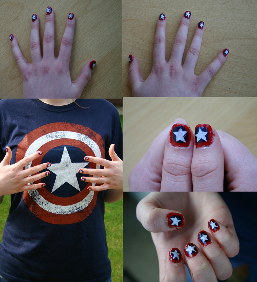 Captain America Nails by Whitewolfie666