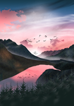 Pink sky at dawn
