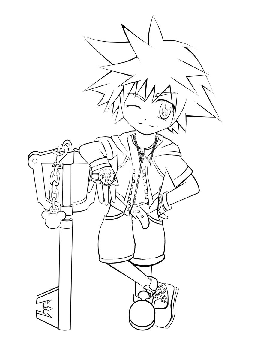 Kingdom Hearts Lineart : Kingdom hearts i sora lineart by t m y evr on deviantart