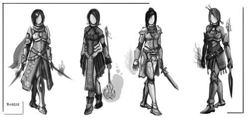 Fantasy Mage-Warrior Concept sketches by ZEroePHYRt