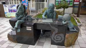 Master Mizuki Shigeru with Kitaro and Nezumi Otoko