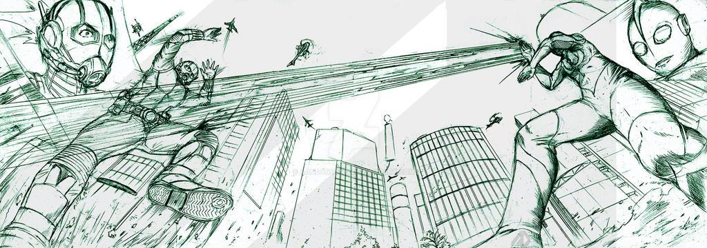 ultraman vs antman rough sketch by aandongeng