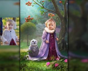 Girl and owl by mashamaklaut