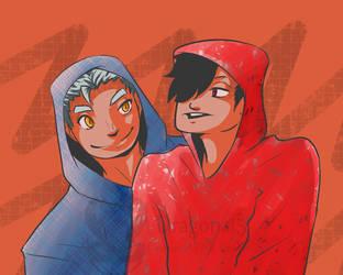 HK Kuroo n Bokuto chill hoodies by Dragona15