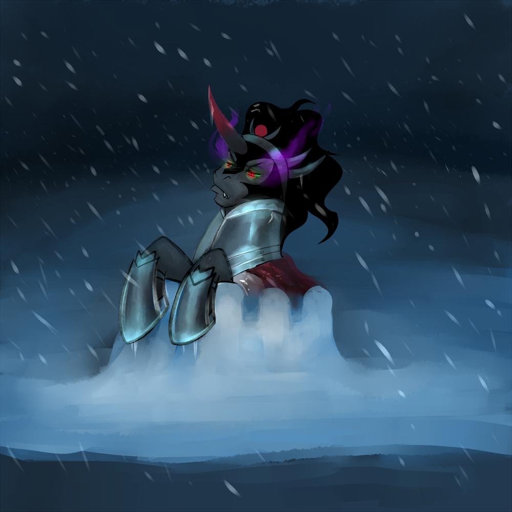 Sombra in a Snowfort by peachiekeenie
