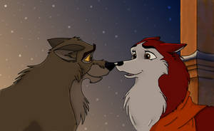 OLD Balto and Jenna-Request by EmberWolfsArt
