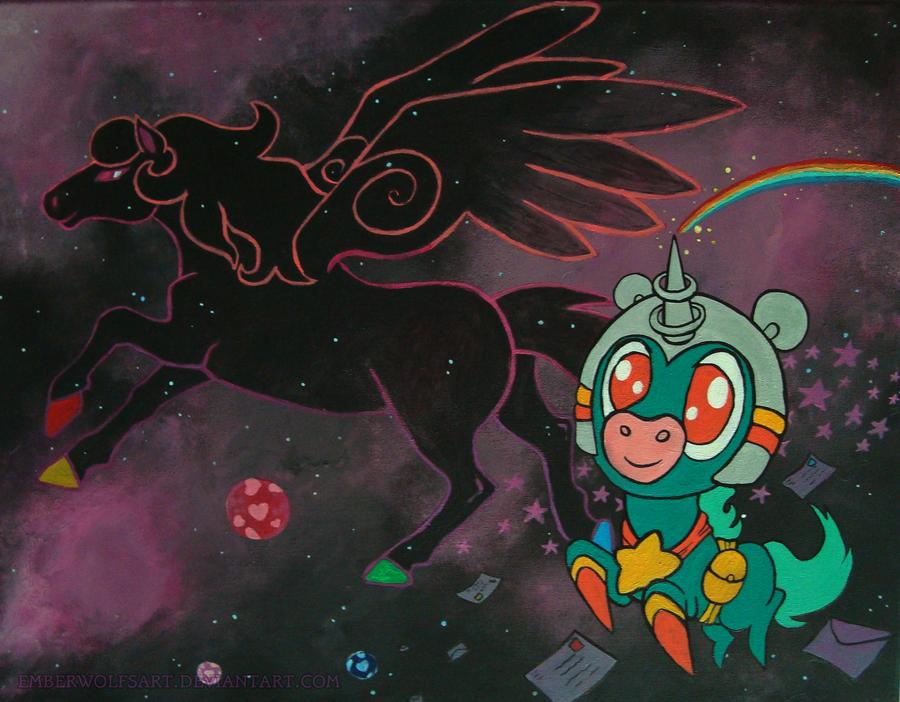 Space Unicorn and Neon Pegasus by EmberWolfsArt
