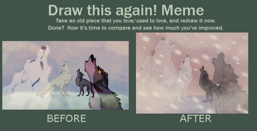 Draw this again meme. by EmberWolfsArt