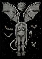 Gargoyle in the cloudless night sky