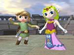 Toon Link and Toon Zelda