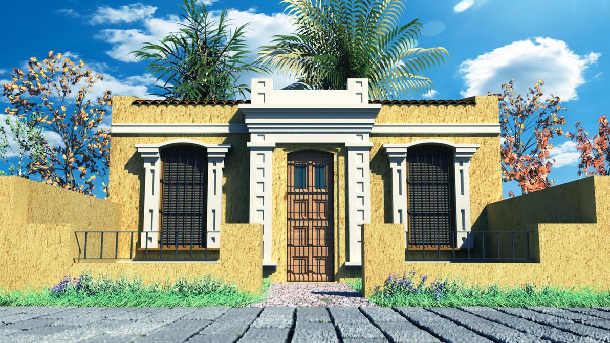 Mi ultimo render 03 (Autodesk Maya) Colonial House