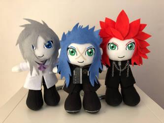 Kingdom Hearts ~ Isa, Ienzo and Lea plushies by xLunaDivinerx