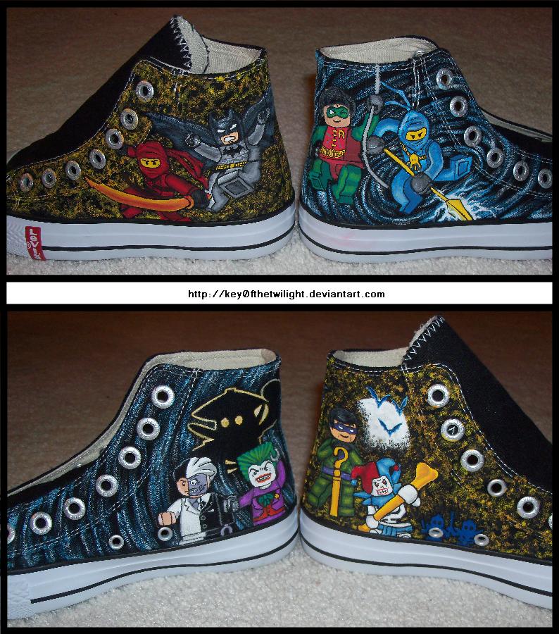 Lego Batman/Ninjago Shoes by Key0fTheTwilight