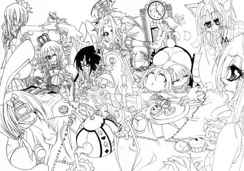 tea party lineart
