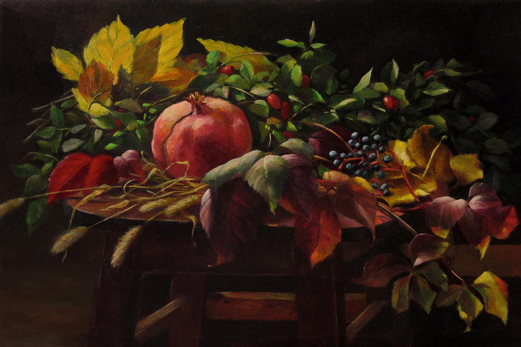 still life with pomegranate by romantik111