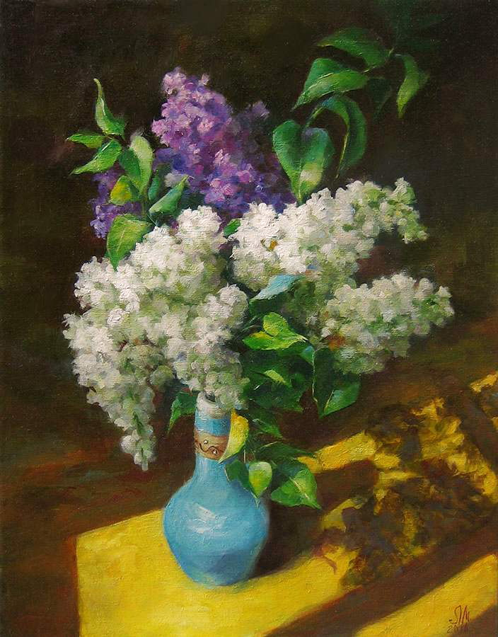 lilac in a blue vase by romantik111