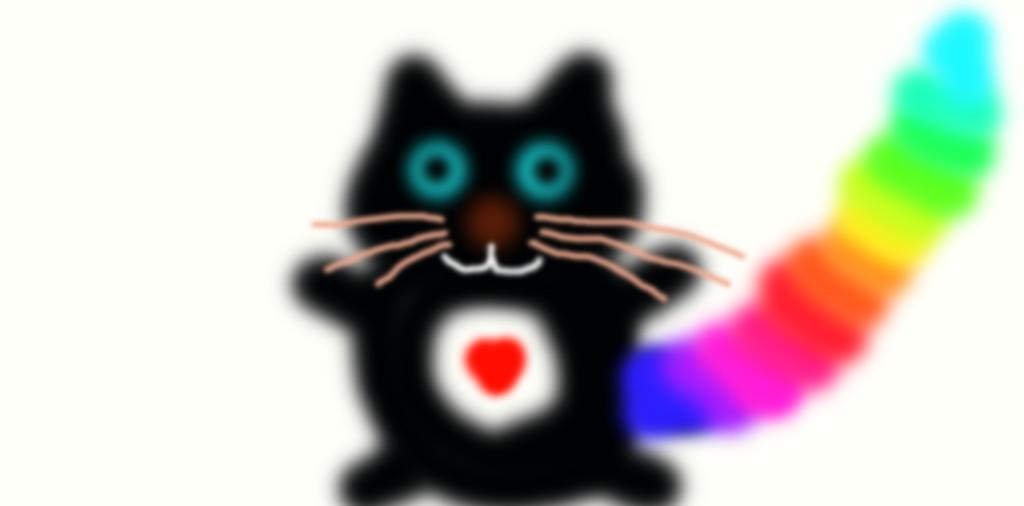 plushy rainbow tail cat by animec20