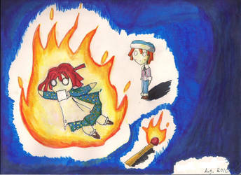 Raggedy Ann playing with Fire by MadameMochete