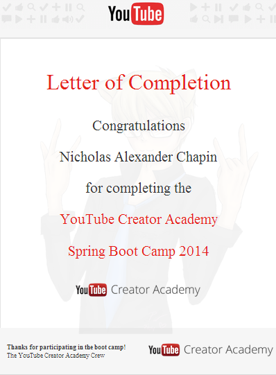 Youtube creator academy letter of completion by vendus on deviantart youtube creator academy letter of completion by vendus altavistaventures Images