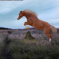 Flaxen Chestnut Jumping A Rock by TheOdddArtist
