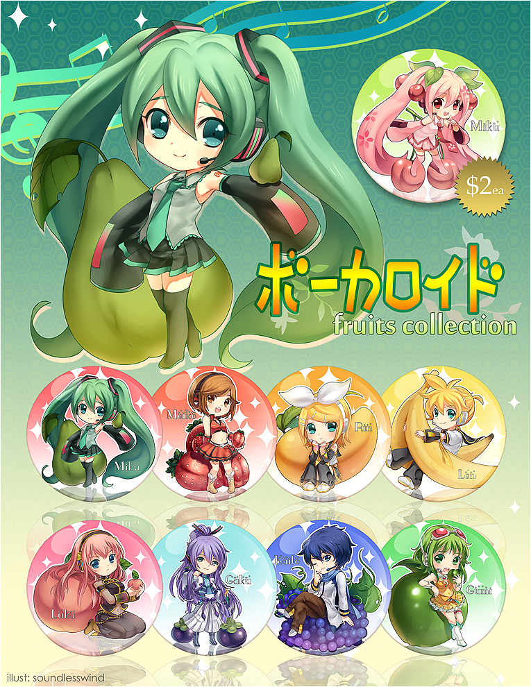 Vocaloid Buttons: Fruits Collection by Kaze-Hime